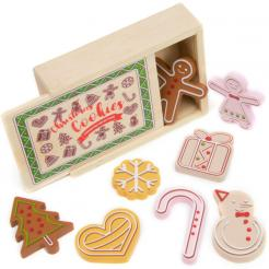 Christmas Cookies Playset is a fun 10 piece holiday wooden play food set